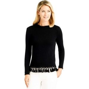 J. McLaughlin Sander Sweater Metallic Fringe